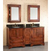 "Traditions Milano 72"" Drawer Bridge Bathroom Vanity in Colonial Cherry"