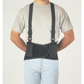 Extra Large Black Economy Belt 8&quot; Back Support W/Suspenders 47&quot; To 56&quot;