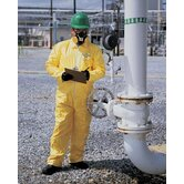 Yellow Tychem&reg; QC Chemical Protection Coveralls With Serged Seams And Front Zipper Closure