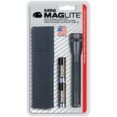 Mini Mag-Lite 2- Cell AA Flashlight w/Batteries and Holster (Black)