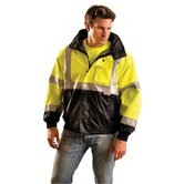 Hi-Viz Yellow And Black PVC Coated Polyester ANSI Class 3 Occulux Bomber Jacket With 3M™ Reflective Strpes And Nylon Lining