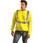 Hi-Viz Yellow Cotton/Polyester ANSI Class 2 Light Weight Crewneck Sweatshirt