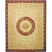 French Tapis Beige/Dark Red Rug