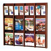 Twelve Magazine and 24 Brochure Oak and Acrylic Wall Display with Optional Floor Stand