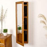 "Bullock 48"" High Wall Mount Jewelry Mirror in Oak"