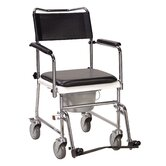 Folding, Portable, Upholstered Commode with Wheels and Drop Arm