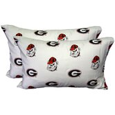 Georgia Bulldogs Pillow Case Set in White