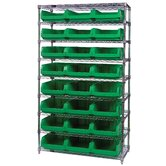 "Q-Stor 9 Shelf Unit with Magnum Bins (74"" H x 42"" W x 18"" D) with Optional Mobile Kit"