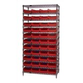 "12"" Q-Stor 12 Shelf Unit with Shelf Bins with Optional Mobile Kit"