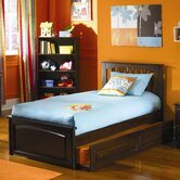 Brooklyn Platform Bed with Raised Panel Footboard and Trundle in Antique Walnut