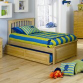 Brooklyn Platform Bed with Raised Panel Footboard and Trundle in Natural Maple