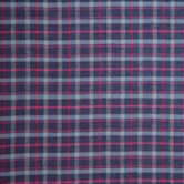 Grey and Navy Blue Plaid Red Lines Toss Pillow