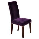 Velvet Parson Chairs with Chrome Nail Head Trim (Set of 2)