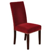 Velvet Parson Chairs with Chrome Nail Head Trim