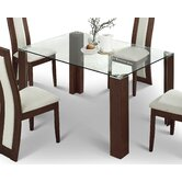 Mistral Glass Dining Table with Walnut - 140cm