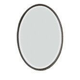 Sherise Beaded Oval Mirror in Distressed Bronze