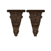 Mora Decorative Accent Shelves in Distressed Chestnut Brown, Set of 2