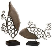 Two Fish in Antiqued Wood (Set of 2)
