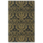 Marseille Dark Charcoal Damask Rug