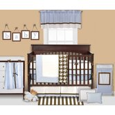 Metro Blue, White and Chocolate Crib Bedding Collection