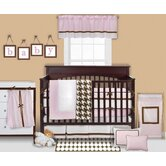 Metro Pink, White and Chocolate Crib Bedding Collection