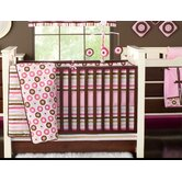 Mod Dots and Stripes Pink and Chocolate Crib Bedding Collection