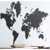 World Map Wall Sticker in Black