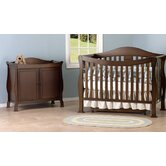 Parker Two Piece Convertible Crib Set with Toddler Rail in Coffee