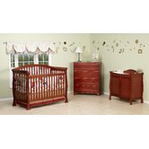 Thompson Three Piece Convertible Crib Nursery Set  with Toddler Rail in Cherry