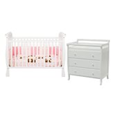 Jamie Two Piece Convertible Crib Set in White