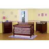 Emily Three Piece Convertible Crib Nursery Set with Toddler Rail in Cherry