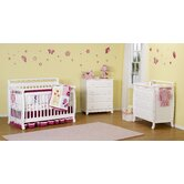 Emily Three Piece Convertible Crib Nursery Set with Toddler Rail in White