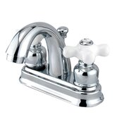 Centerset Bathroom Faucet with Double Porcelain Cross Handles