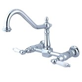 Heritage Two Handle Wall Mount Bridge Kitchen Faucet with Porcelain Lever Handles