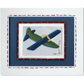 Transportation Green Plane Framed Giclee Wall Art