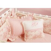 Toile Pink Monogram Pillow