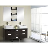Maybell Double 55.1&quot; Bathroom Vanity Set in Espresso