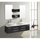 Augustine Double 58.7&quot; Bathroom Vanity Set in Espresso/Black