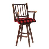 Hickory Swivel Barstool with Arms and Upholstered Seat