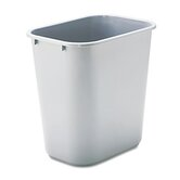 Commercial Deskside Plastic Wastebasket, Rectangular, 7 Gal