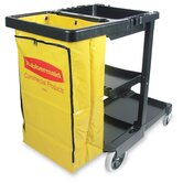 Janitor Cart  w/ Zipper Vinyl Bag, Black
