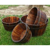 Wood Round Shallow Cedar Barrel Planters (Set of 4)