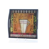 Java Time by Lisa Kaus 4-Tile Square Serving Tray with Handles