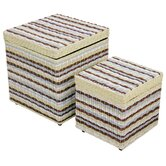 Funstripes Misty Square Storage Stools (Set of 2)