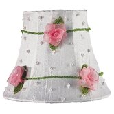 Pink Net Flower Chandelier Shade in White