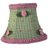 Chandelier Shade with Pink Rosebud Checks