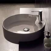 Geo Semi Recessed Single Hole Bathroom Sink in White