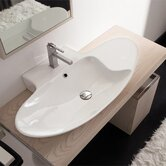 Zefiro 90/R Mensola Wall Mounted Single Hole Bathroom Sink in White