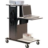 4-Shelf Mobile Presentation Station in Black / Gray