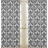 Isabella Damask Black and White Curtain Panel (Set of 2)